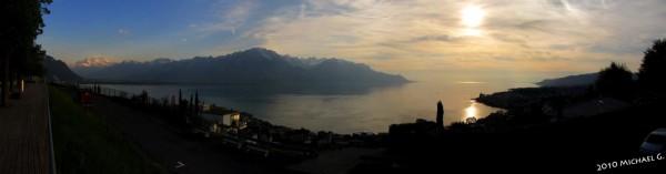 Vue sur le léman au-dessus de Montreux VD