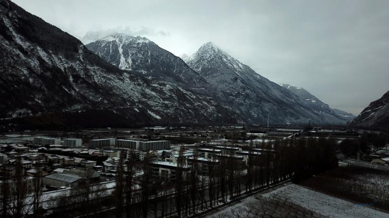 La plaine du rhone sous la neige