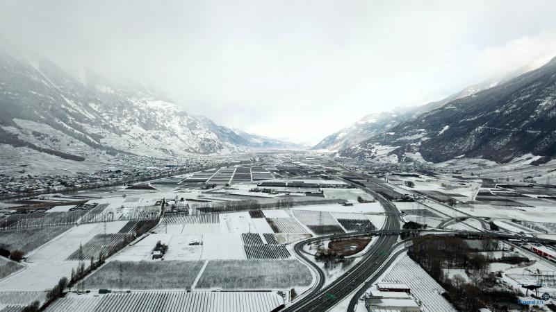 Vallée du Rhone sous la neige