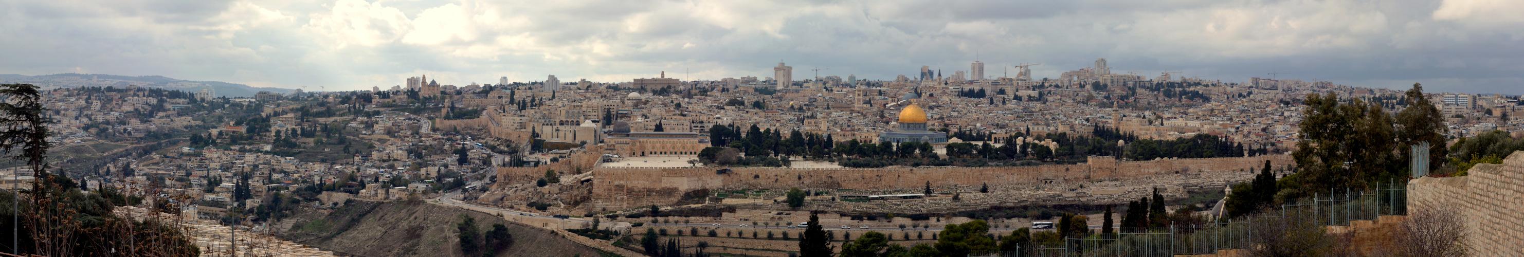 Vue sur la vielle ville et Jérusalem ouest
